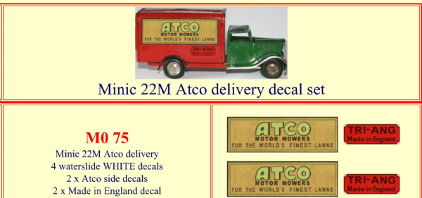 "M075 Tri-ang ( Triang ) Minic 22M "" ATCO Motor Mowers "" Delivery Van decal set"